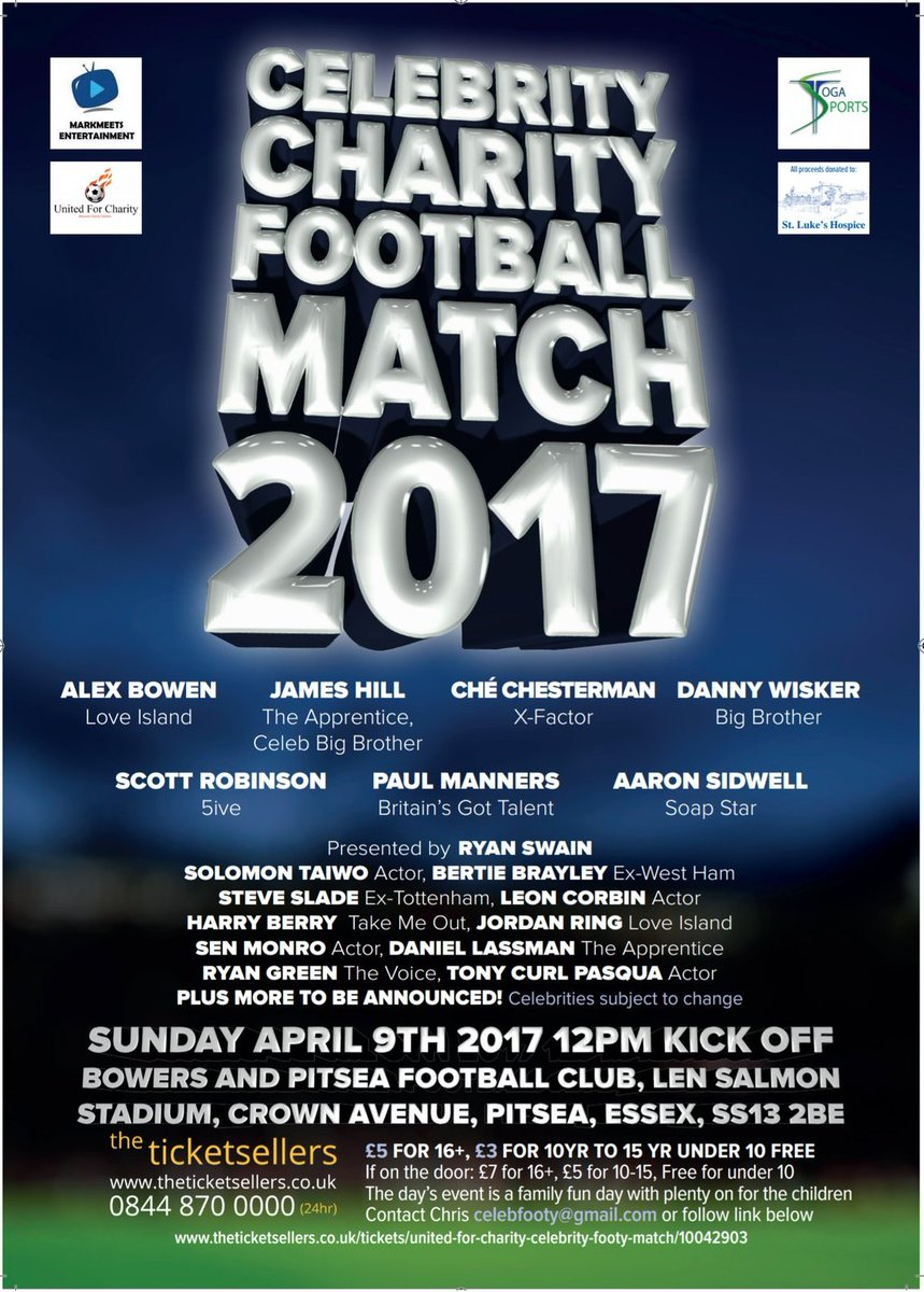 Join Us At The Annual Essex @celebrityfooty Celebrity Charity football Match This April for@StLukesHospiceB . Ticketshttps://t.co/SOPDDOANBF