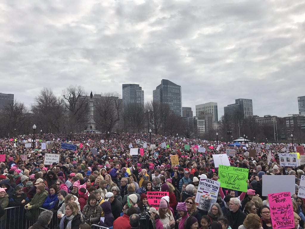 Boston, St. Louis, DC; crowds still gathering. But it's not what you see at the top of @nytimes or @washingtonpost. #WomensMarch