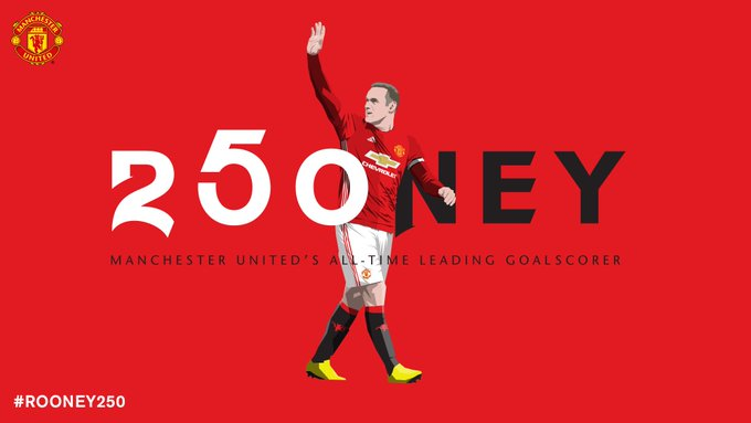 Manchester United's all-time record goalscorer.   Congratulations, @WayneRooney. #ROONEY250 👏👏