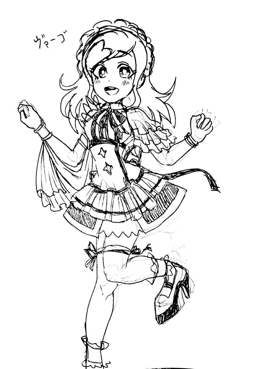 イナイレの乙女乃スピカ(ヴァーゴ)ちゃんにアイドル衣装っぽいのを着せてみたラクガキ。