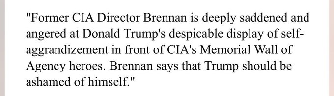 Breaking: Fmr CIA Director Brennan 'deeply angered and saddened' at President Trump's speech at Memorial Wall