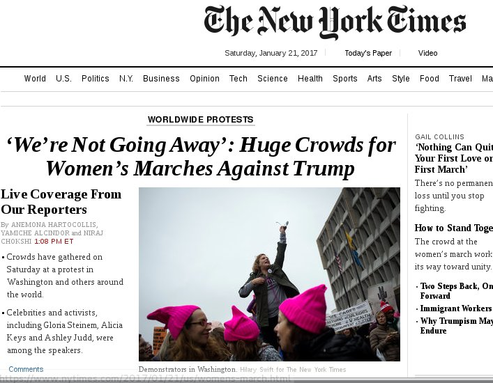 The @nytimes and @washingtonpost are both now leading with remarkable #WomensMarch headlines for their already-solid reporting. Well done!