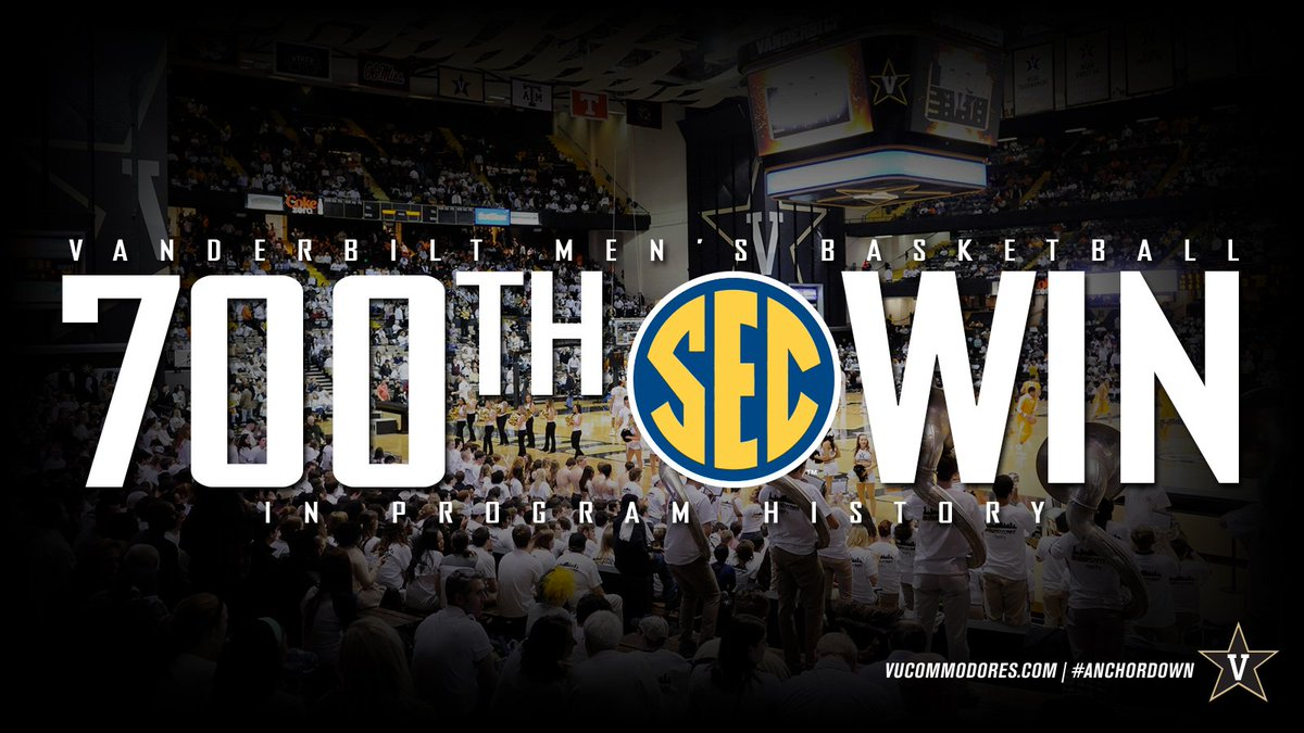 RT @VandyMBB: Today was our 700th career SEC Win! #AnchorDown https://t.co/BYg8XhaarE