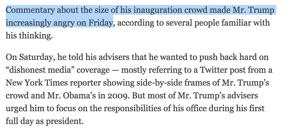 President Trump spent Day 1 in office mad that reporters accurately reported about his smaller inauguration crowd https://t.co/7PSVxkSbAT