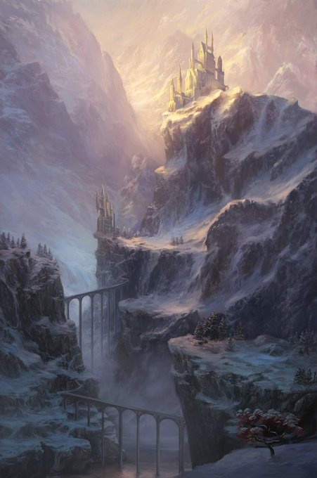 @deviantART: A castle stands at the peak of icy mountains, illuminated by light and snowy magic. https://t.co/Naz1f69ids https://t.co/vTwpRKINis