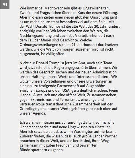 #Steinmeier: Mit der Wahl v. #Trump ist die alte Welt des 20. Jhd endgültig vorüber. Wie die Welt von morgen aussehen wird, ist völlig offen