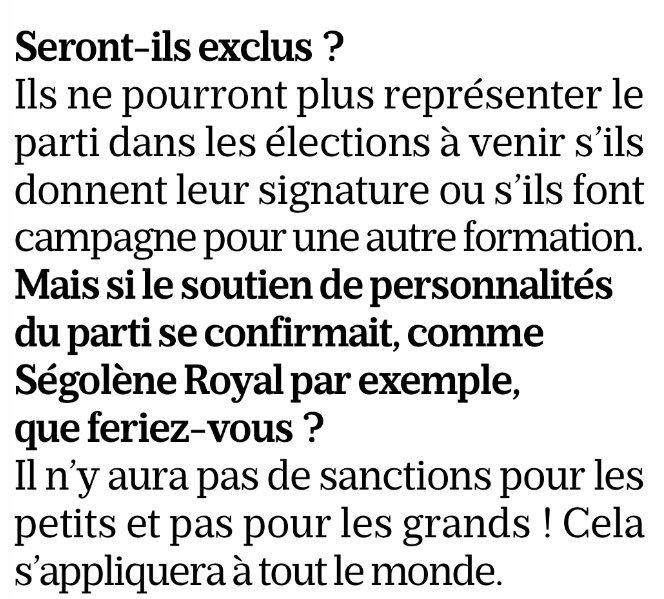 Cambadélis menace à nouveau d'exclure les membres du PS qui roulent pour Macron. Dont Royal. Finira-t-il par le faire ? (Itw au Parisien).