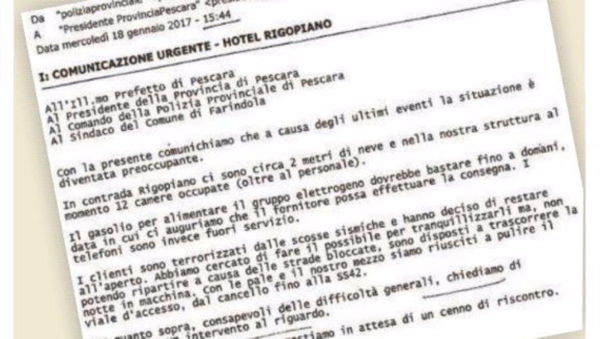 Rigopiano, mail hotel prima della tragedia: 'Clienti terrorizzati' #Rigopiano https://t.co/wDeJbuXJm4