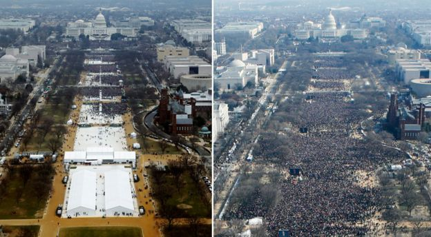 Trump spends Day One denying the photographic evidence. His inauguration crowd (left) versus Obama's in 2009 (right) https://t.co/y626lRVNnW