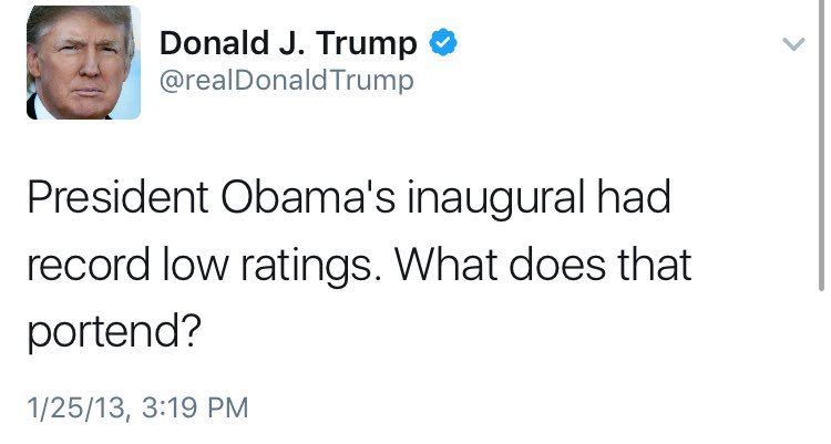 Four years ago: President Obama's second inaugural had 'record low ratings' Today: Actually those were 'very good ratings'