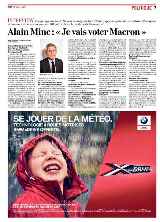 Ouh la la, Minc, l'homme qui soutenait Balladur en 95, Sarkozy en 2012 & Juppé à la primaire soutient Macron en 2017🍀   (It#ChatNoirw JDD).