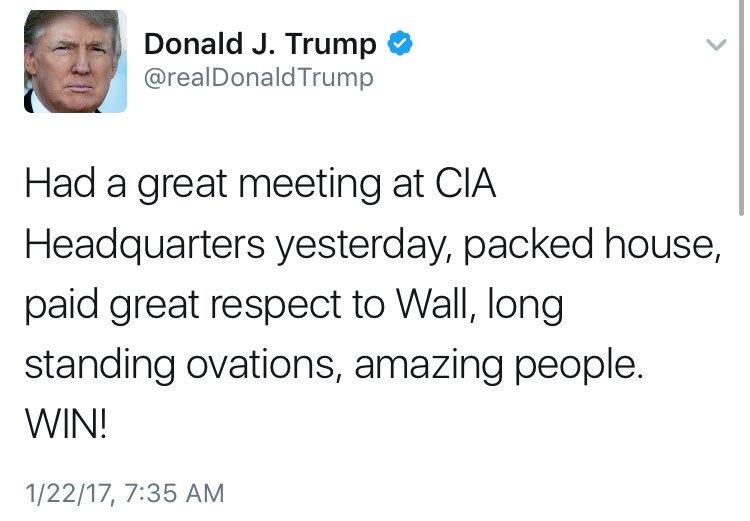 Pres. Trump: Great CIA visit  Senior intel offficial: 'That was one of the more disconcerting speeches I've seen.'   https://t.co/SsoaxpzUky