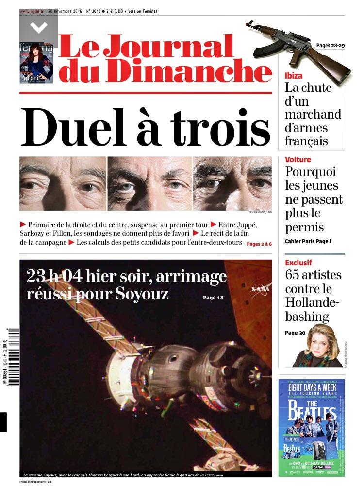 'Duel à trois' en une du JDD le 20 novembre, jour du triomphe de Fillon.  'Trio de tete' le 22 janvier, jour du triomphe de... #PrimairePS