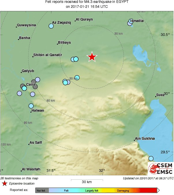Yesterday a M4.3 struck in #Egypt 68 km NE of #Cairo. Felt it? Report on our website or via our free LastQuake app