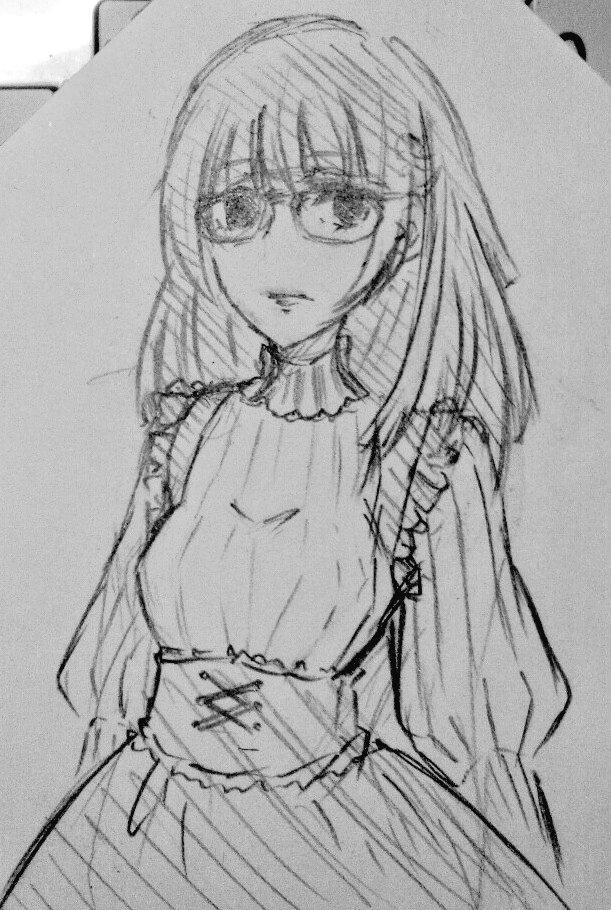 らくがき眼鏡が上手く描けねえ…断片的な設定だけあるオリキャラ、櫻子さん目力強い(死んでる)系狂人。自己愛の怪物。
