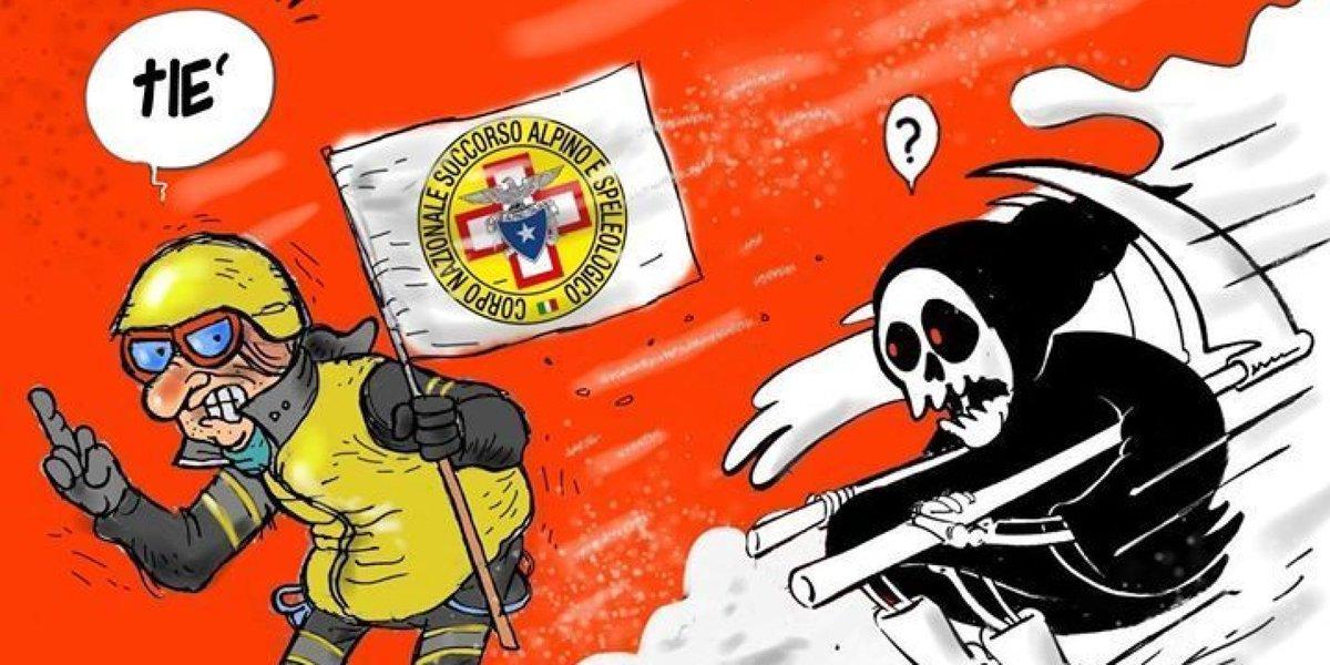 Questa vignetta è la migliore risposta all'ironia di Charlie Hebdo sull'hotel Rigopiano https://t.co/0XoeZoTEKs