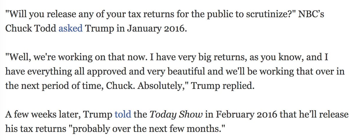 Trump promised to release his tax returns.   Now says he won't release his tax returns.  #brokenpromises #lies #MAGA