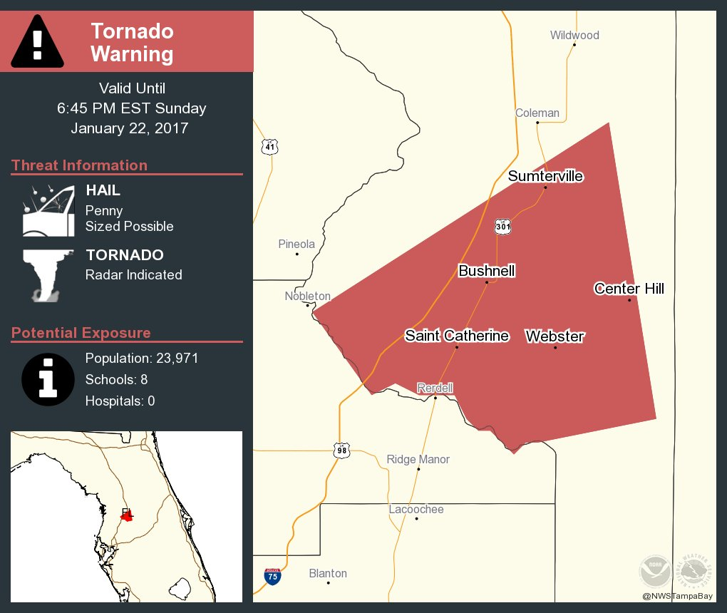 Center Hill Florida Map.Take Cover Tornado Warning Continues For Bushnell Fl Center