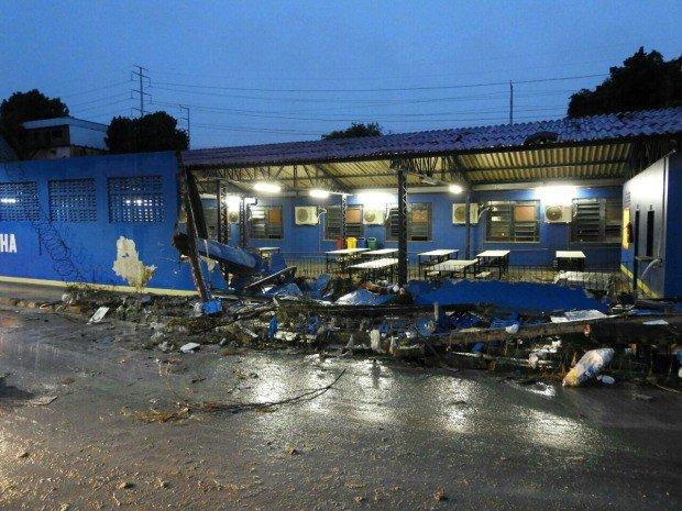 Muro de escola desaba e atinge carros durante chuva em Manaus. https://t.co/imLIdYYqNT #G1