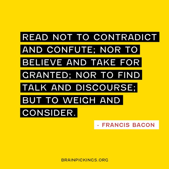Francis Bacon, born on this day in 1561, on the spirit of true learning and how to read intelligently https://t.co/IIw2gk8MG6