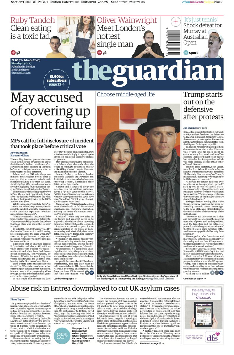 RT @guardian: Guardian front page, Monday 23 January 2017: May accused of covering up Trident failure https://t.co/0QuHtl5Z9i