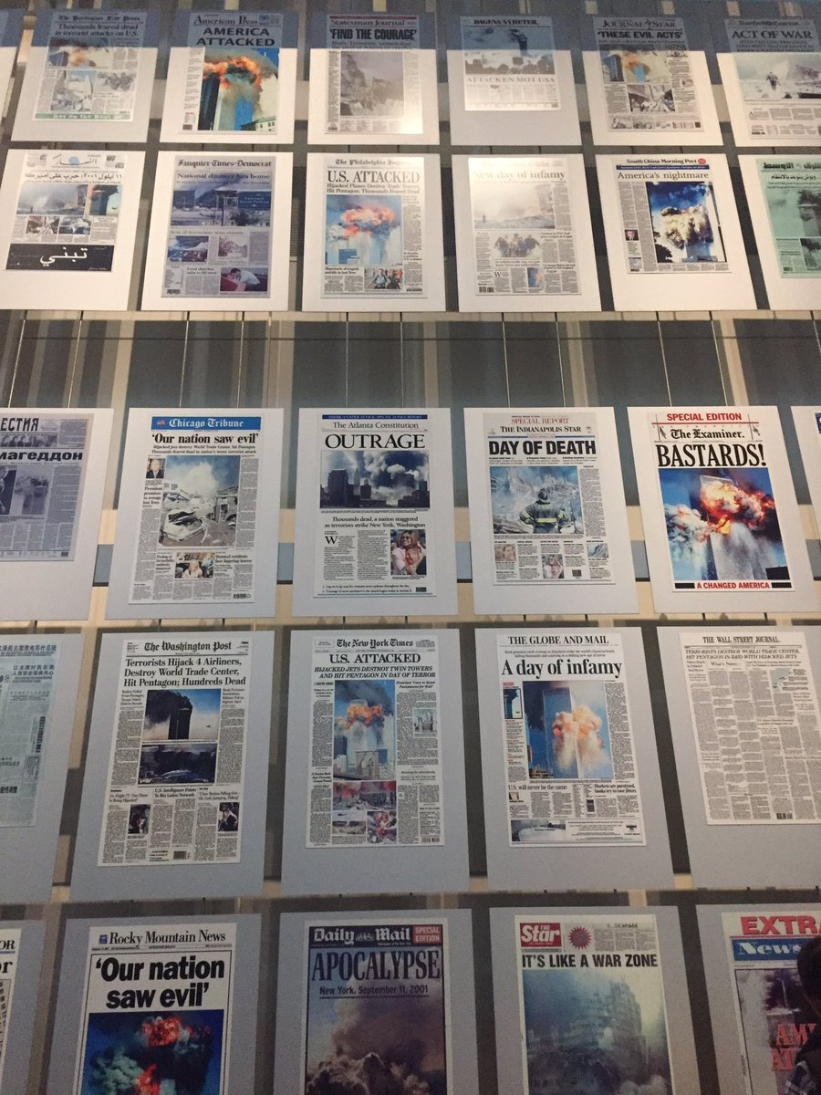 Moving wall of front pages covering 9/11  #neverforget