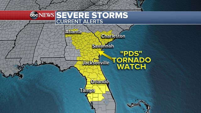 """UPDATE: New """"Particularly Dangerous Situation"""" Tornado Watches issued from central Florida to South Carolina https://t.co/8XMioH4yNc"""