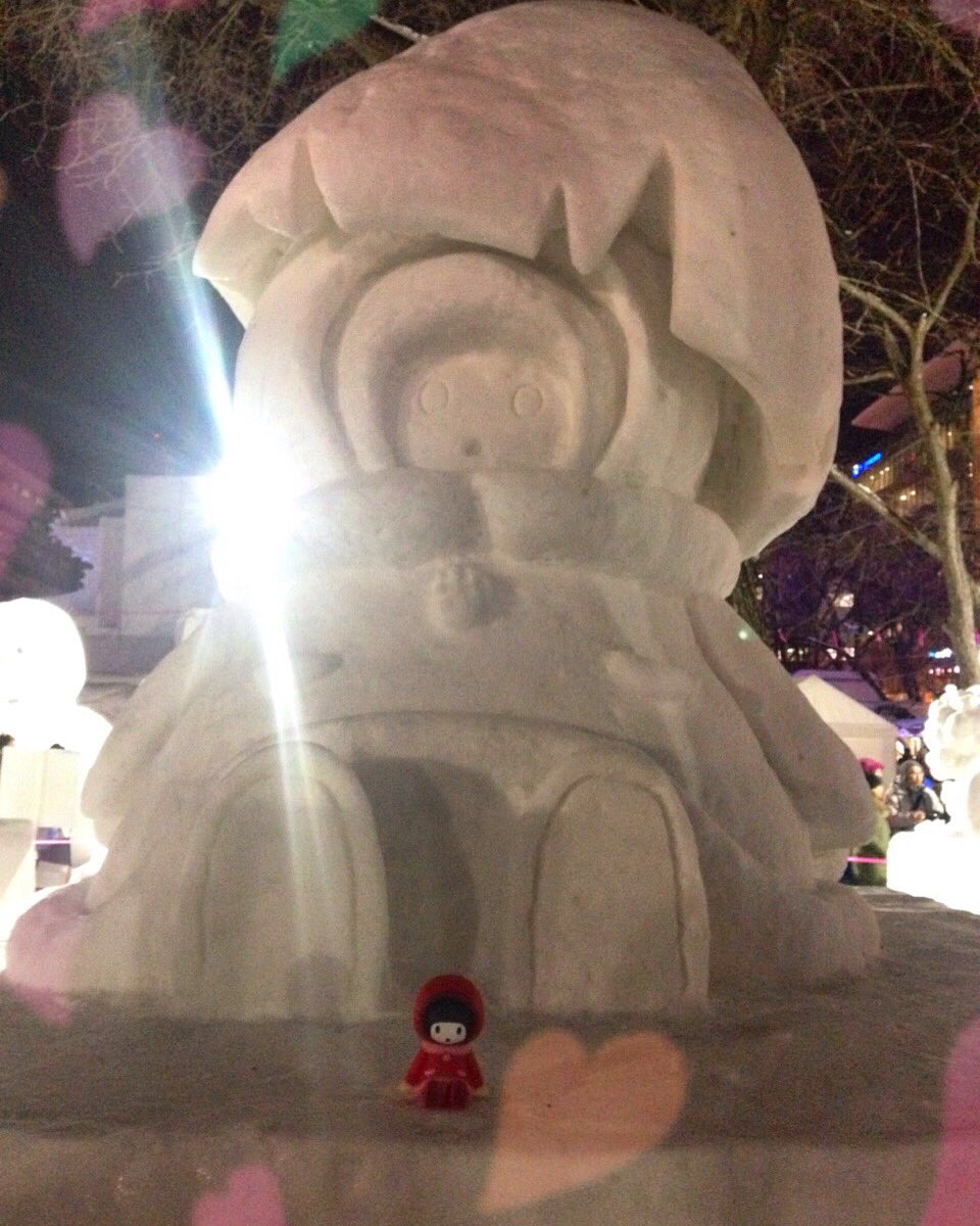 今年も♡ゆきんこー♡酉年カリメロゆきんこ🐣札幌雪まつり!すごいひとだったー#ユキンコ#ゆきんこ#YUKI
