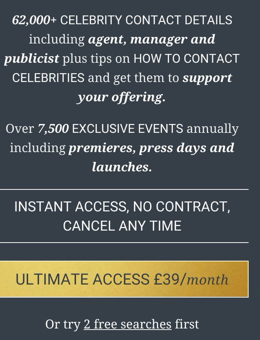 Live like a celeb & access the ultimate media directory with 62,000+ celebrity agent, manager & publicist details https://t.co/Z4jYfRiXY5