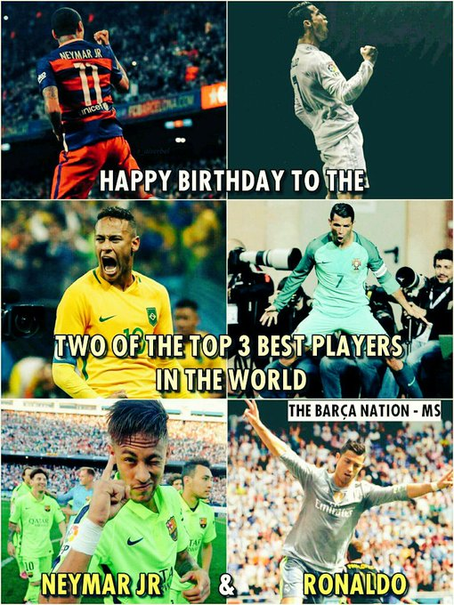 Happy Birthday Neymar Jr and Cristiano Ronaldo!