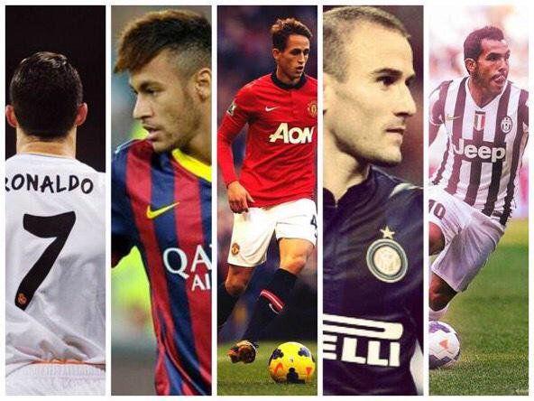 Happy Birthday:  Cristiano Ronaldo (32) Carlos Tevez (33) Neymar Jr. (25) Adnan Januzaj (22) Rodrigo Palacio (35)