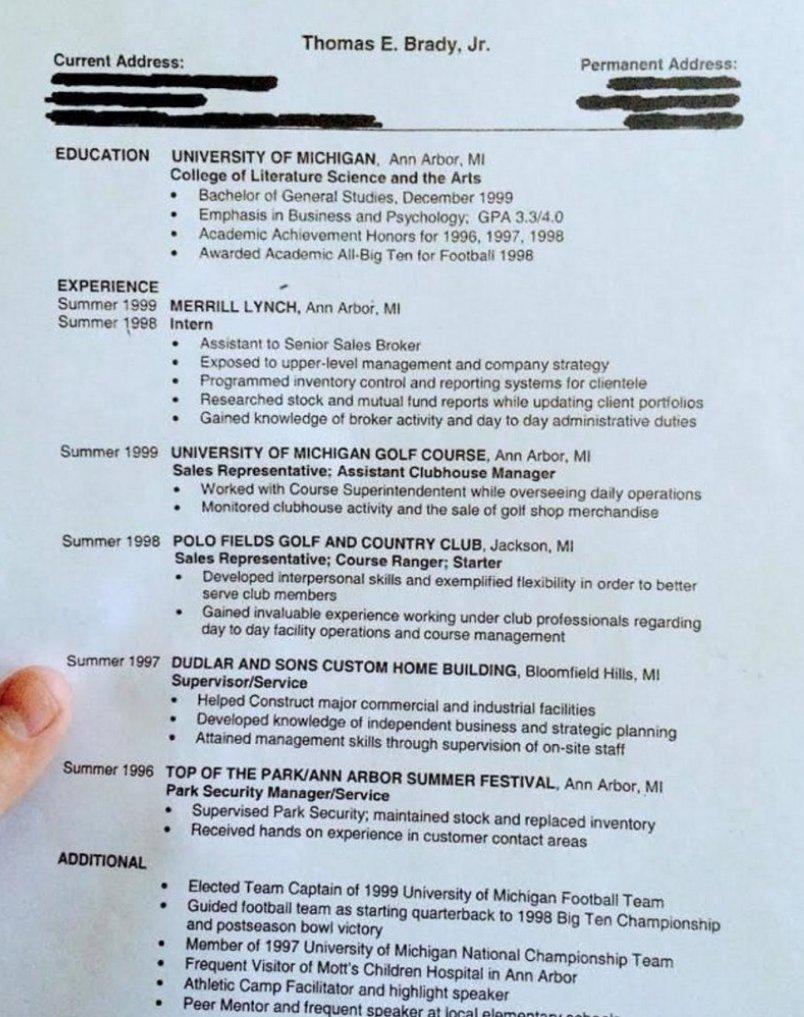 pics Tom Bradys college resume