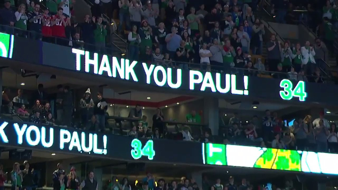 18 years to the day from his #Celtics debut, @PaulPierce34 has emotional final game in Boston! https://t.co/QsOgLRvtA0