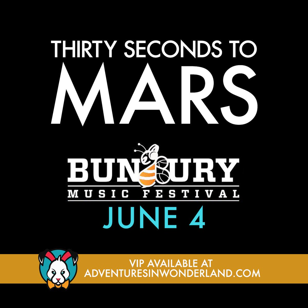 MARS IS COMING to @BunburyFestival! / VIP: https://t.co/HBYgqXmOb7 @30SECONDSTOMARS https://t.co/7X4im9Fltr