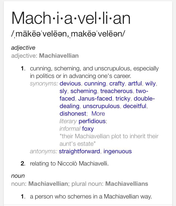 Word of the day: Machiavellian https://t.co/K2yQSIaIKq
