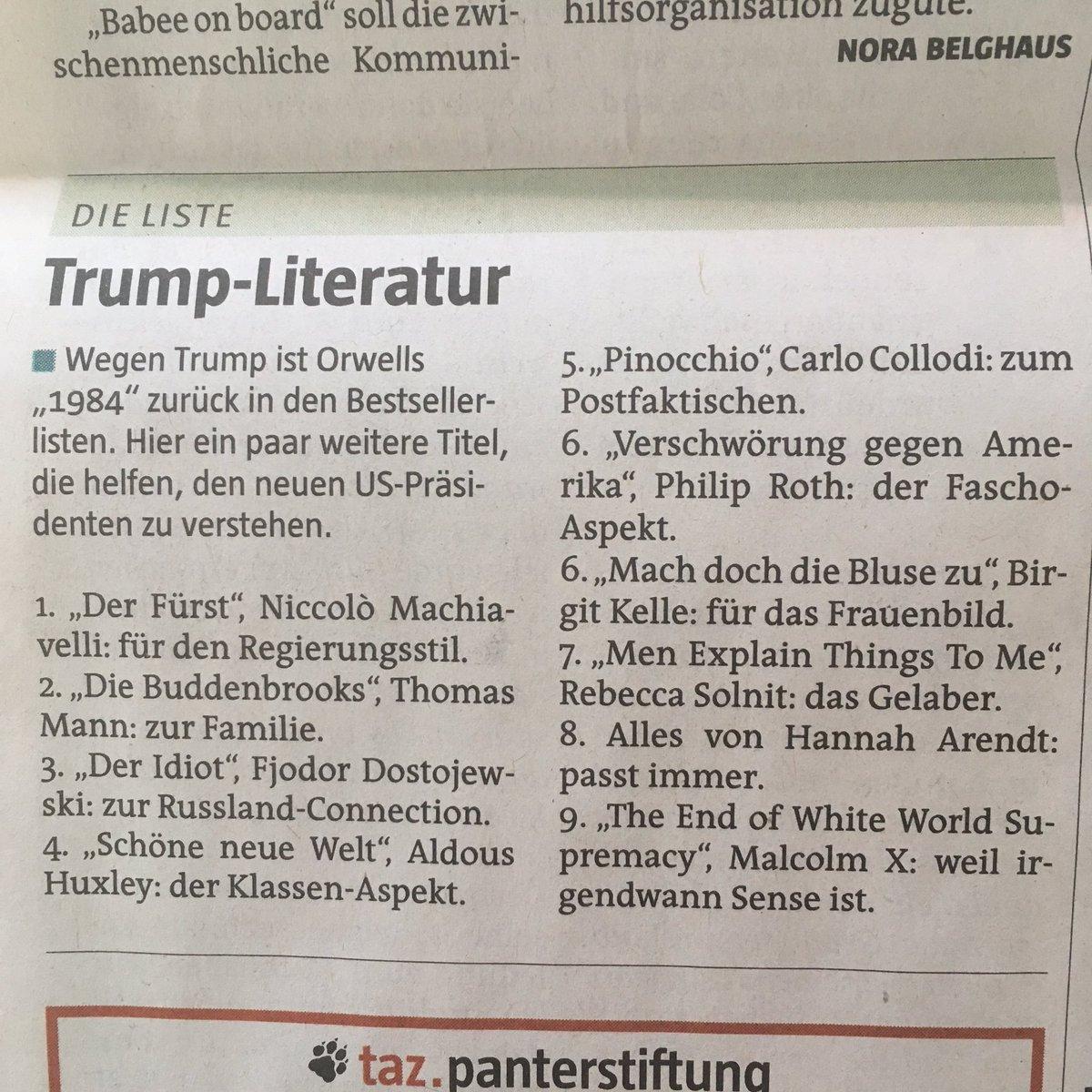Am Frühstückstisch schon gelacht #LesenGegenTrump @tazgezwitscher https://t.co/Mh7LfabTU0