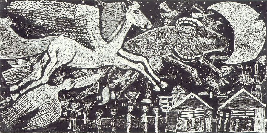 「魔女の宅急便」で、主人公・キキに影響を与える画家の少女・ウルスラが描いていた絵。八戸市内の中学生が制作した版画作品がモ