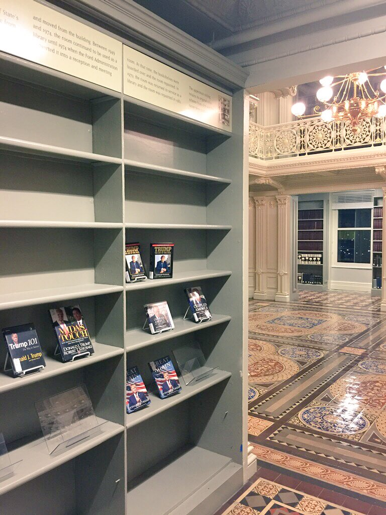 A contact sends along a picture of a bookcase in what's called the Old State Department Library in the EEOB. It's the first thing you see