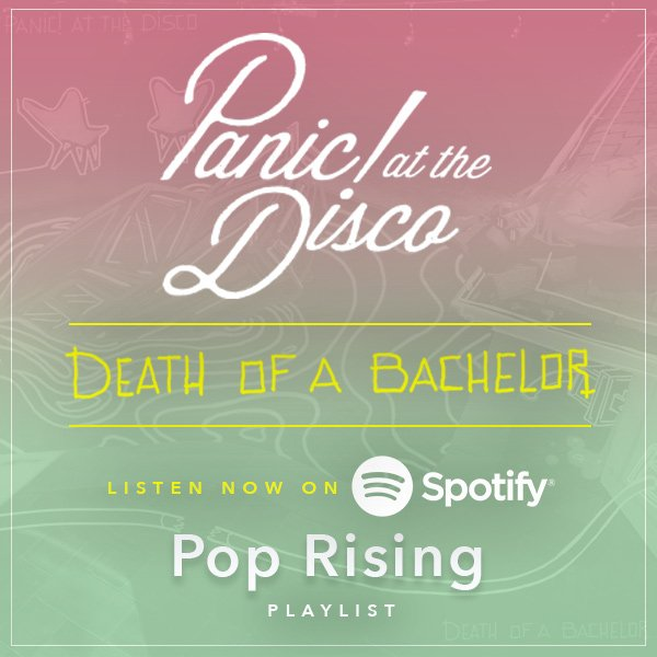 Well, look at that! #DeathOfABachelor is sitting pretty on @Spotify's Pop Rising playlist https://t.co/TgoSbKtVAc https://t.co/2EAopV4leD
