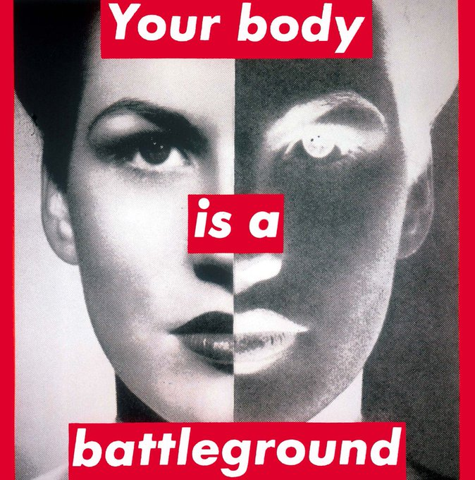Happy birthday barbara kruger--i\m sad to say that even though this was made in the 80s it\s still relevant today