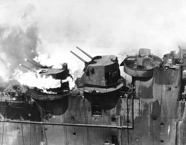 Carrier Franklin's after 5in gun mounting burning as result of a bombing, off Japan, 19 March 1945. Photograph was … https://t.co/pzUEDpYSvd