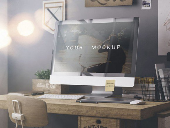 iMac photorealistic mockup apple free freebie freebies iMac mockups