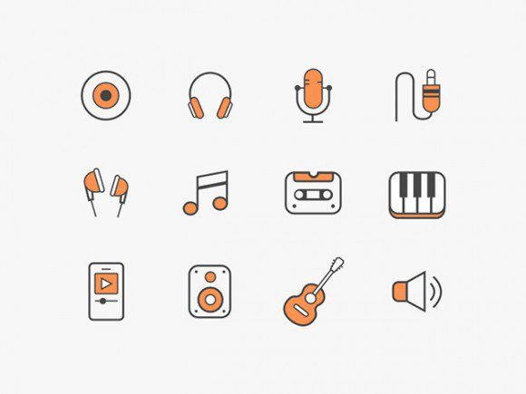 12 free music icons (Sketch + Ai) exclusive featured free freebie freebies icons