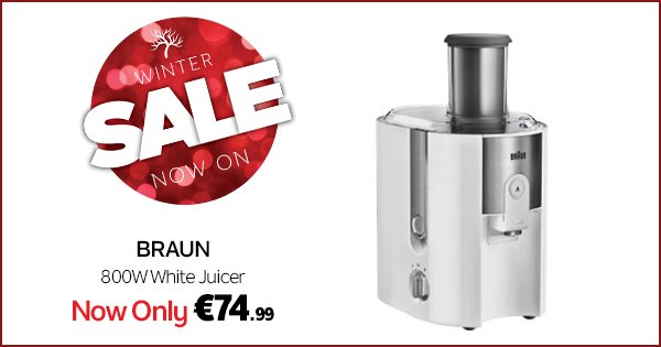 Get a refreshing glass of juice in only 15 secs with the Braun 800W Juicer, now only €74.99! https://t.co/H5drXI6nC3 https://t.co/kzc4JwzhOE