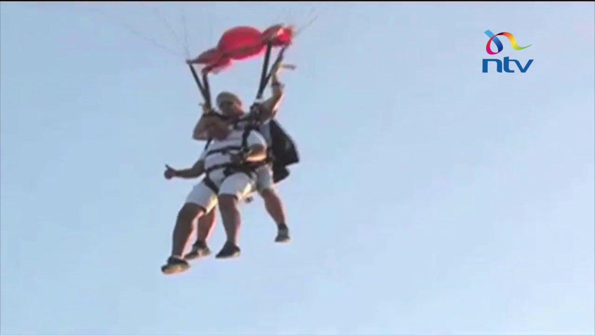 CS Balala skydives to promote Mombasa as a holiday destination