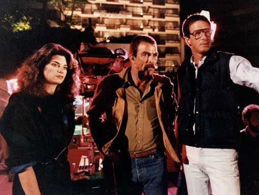 Happy 72nd birthday to Tom Selleck, seen here w/ Kirstie Alley & Michael Crichton on the set of \Runaway\ (1984).