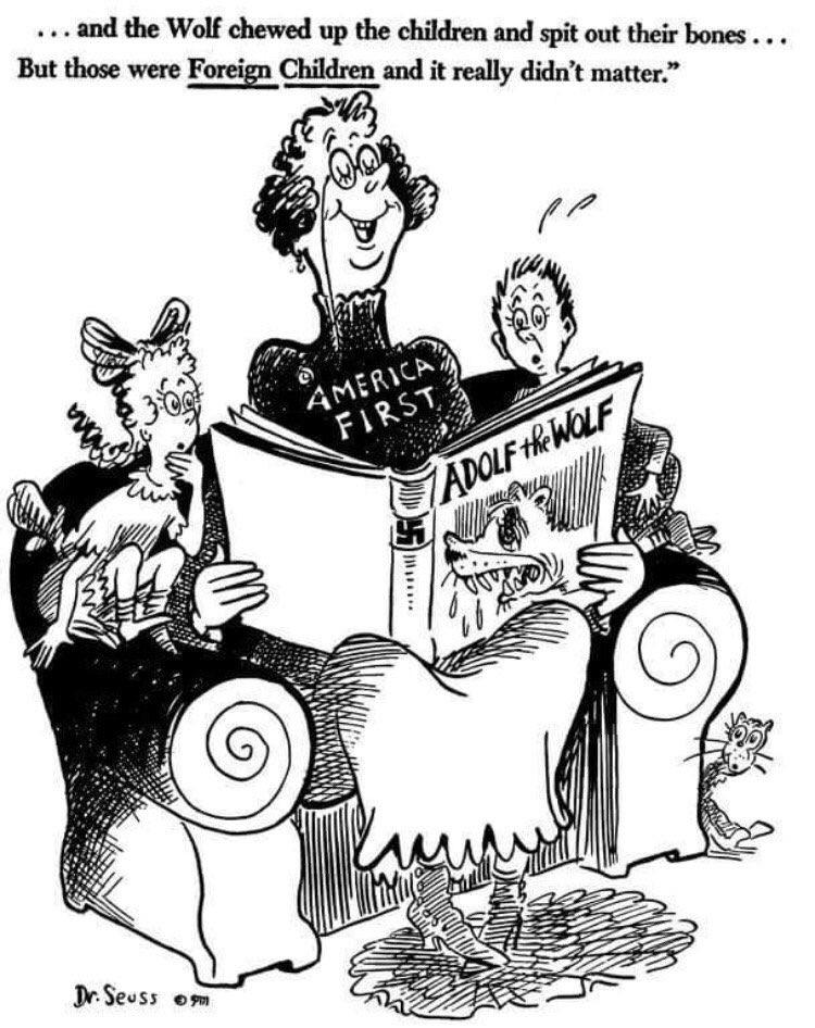 1941 un dessin de Dr. Seuss contre le refus US d'accueillir des réfugiés juifs. Le T-shirt n'a pas changé...