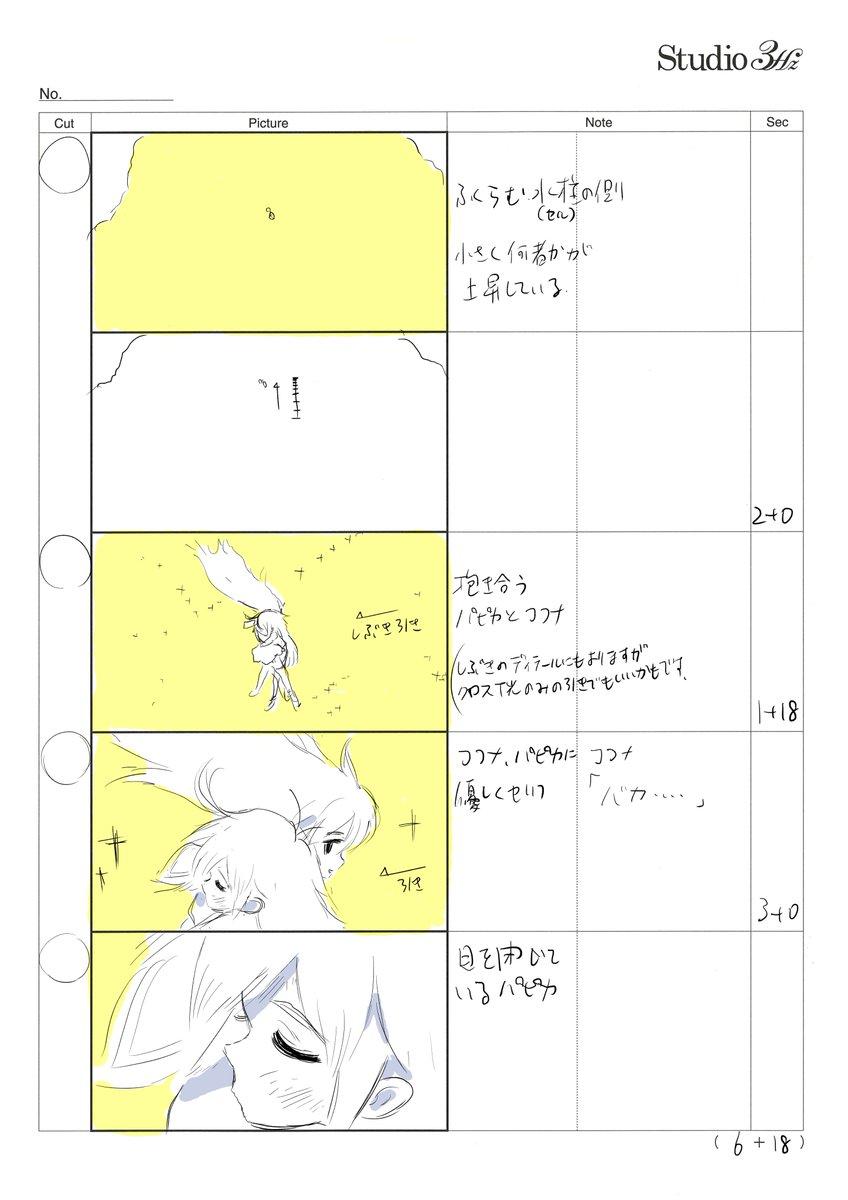 空中の二人のかけ合いは井上俊之さんの原画。たゆたうハッタリなびきに難しい二人芝居。TVシリーズではどう考えても難しいシー