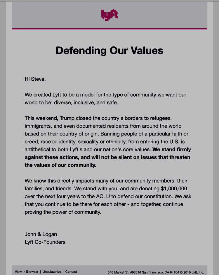 """Lyft announces it will donate $1 million to the ACLU """"to defend our constitution"""" in response to Trump's order. https://t.co/Gbmv9iPgLZ"""