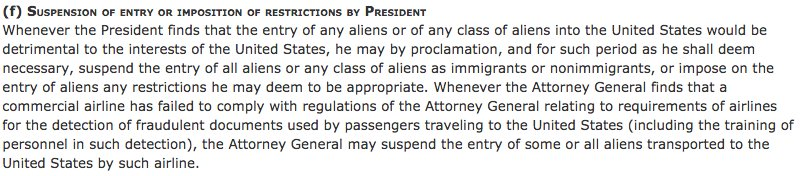This is the section of the US code Trump is going to say allows his Muslim ban: https://t.co/PIQKebTCFL https://t.co/lUGEuL2zuL